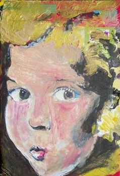 "2013 Shirley Temple, acrylic on cardboard 8""x5"""