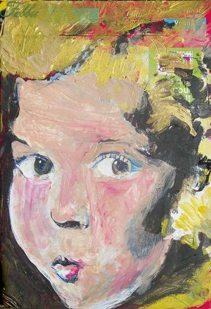 "2013 Shirley Temple, acrylic on cardboard 8""x5"""