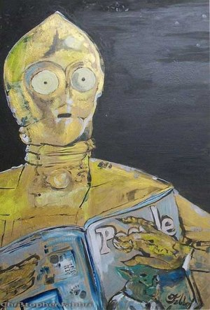 2013 C3PO reading People magazine, acrylic on wood 30″x20″