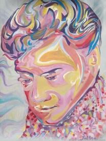 "2012 Elvis, acrylic on plastic panel board 56""x42"""