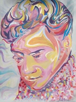 "2012 Elvis, acrylic on plastic panel board, 56""x42"""