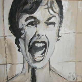 "2013 Janet Leigh as Marion, acrylic on cardboard 12""x12"""