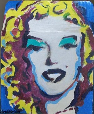 "2013 Monroe blue eyes, acrylic on cardboard 8""x7"""