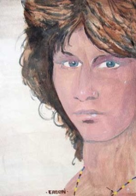 1991 Jim Morrison, acrylic on paper 14″x11″