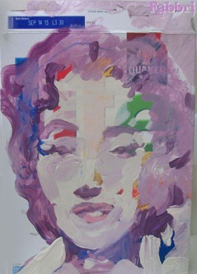 "2012 Monroe pink hair, acrylic on cardboard 11""x8"""