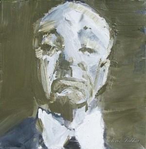 "2013 Alfred Hitchcock, acrylic on cardboard 12""x12"""