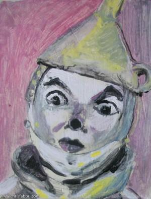 """2013 Tinman, acrylic on cardboard 8""""x6"""""""