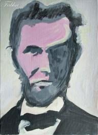"2013 Abe, acrylic on cardboard 7""x5"""