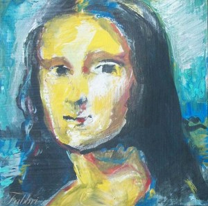 "2013 Mona Lisa, acrylic on cardboard 5""x5"""