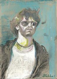 "2014 MCA, Adam Yauch, oil and acrylic on cardboard 11""x8"""
