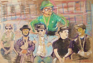 "2014 Beastie Boys and Run-DMC, oil and acrylic on wood 24""x36"""