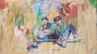"2014 Beastie Boys, oil, acrylic, watercolor and colored pencil on paper world map 28""x49"""