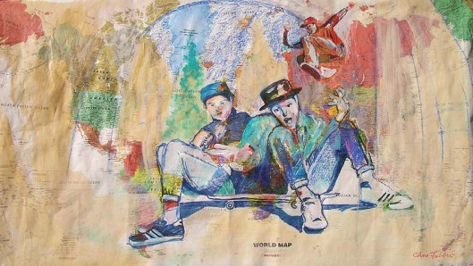 """2014 Beastie Boys, oil, acrylic, watercolor and pencil on paper world map 28""""x49"""""""