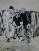 """2014 Beastie Boys, oil and acrylic on wood 25""""x18"""""""