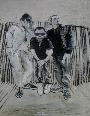 "2014 Beastie Boys, oil and acrylic on wood 25""x18"""