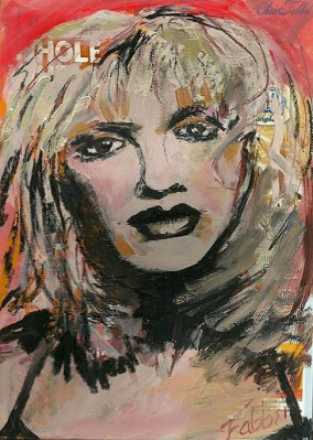 "2014 Courtney Love, oil and acrylic on cardboard 11""x8"""