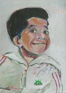 "2014 Gary Coleman, oil and acrylic on cardboard 11""x8"""