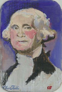 "2014 George Washington, oil and acrylic on cardboard 9 1/2""x6 1/2"""