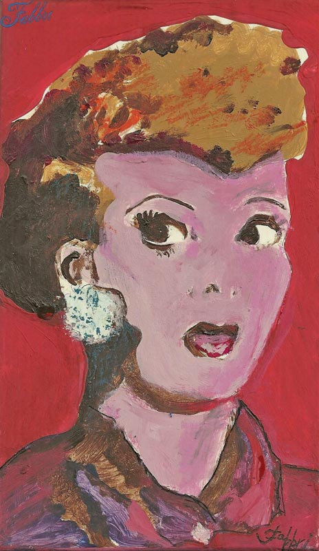 "2014 Lucille Ball on her bluetooth, oil and acrylic on cardboard 8 1/2""x5"""