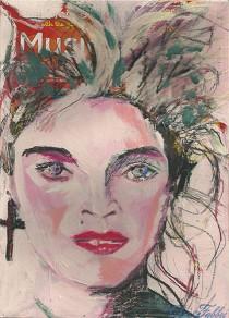 "2014 Madonna, oil and acrylic on cardboard 11""x8"""