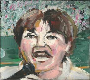 """2014 Roseanne Barr, oil and acrylic on cardboard 8 1/2""""x7 1/2"""""""