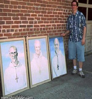 """2009 Chris Fabbri with portrait paintings the first 3 abbots of New Clairvaux Abbey Dom Eusebius Wagoner, Bernard Johnson, Thomas X. Davis first three Abbots of New Clairvaux,  acrylic on canvas 36""""x24"""""""