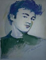"2014 John Lennon, oil and acrylic on illustration board 11""x8 1/2"""