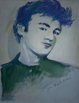 "2014 Blue suede hair, John Lennon, oil and acrylic on illustration board 11""x8 1/2"""