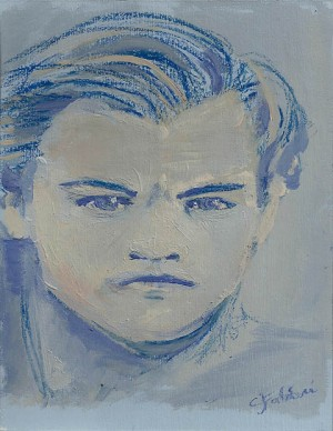 "2014 Leonardo DiCaprio, oil and acrylic on illustration board 11""x8 1/2"""