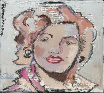 "2014 Marilyn Monroe, oil and acrylic on cardboard 6""x7"""