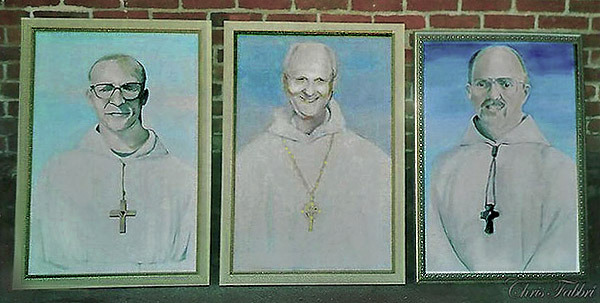 "2009 Dom Eusebius Wagoner, Bernard Johnson, Thomas X. Davis, first three Abbots of New Clairvaux, acrylic on canvas 36""x24"""