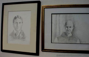 2009 Chris Fabbri portrait drawings of William Randolph Hearst and Thomas Merton. Now showing within the wine tasting room of New Clairvaux