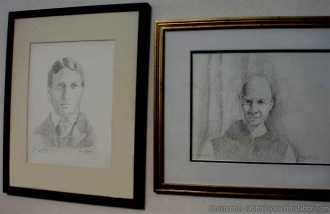 2009 Chris Fabbri portrait drawings of William Randolph Hearst and Thomas Merton. Now showing within the Ovila wine tasting room of New Clairvaux