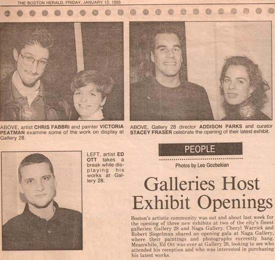 1995 BOSTON HERALD FEATURE PHOTOS BY LEO GOZBEKIAN, GALLERY 28 NEWBURY STREET, NEW ENGLAND SCHOOL OF ART & DESIGN, BOSTON