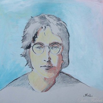 2013 John Lennon, Imagine there's no 9-11, pencil and acrylic on cardboard 12″x12″