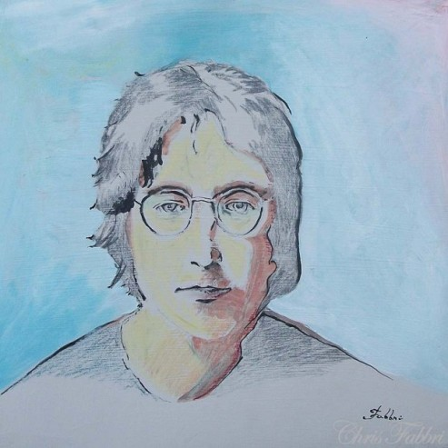 2013 John Lennon, pencil and acrylic on cardboard 12″x12″