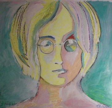 2014 John Lennon, oil and acrylic on paper 24″x26″