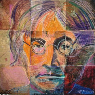 2014 John Lennon, Let it Be, Give people a chance, Do it for Johnny, oil and acrylic on canvas 52″x52″