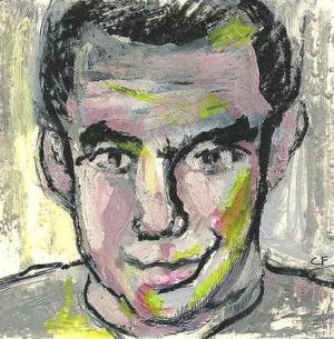 """2014 Humphrey Bogart, oil and acrylic on paper 4 1/2""""x4 1/2"""""""