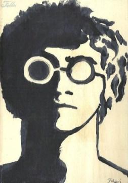 """2014 John Lennon, pencil and acrylic on wood 7""""x5"""""""