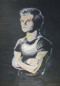 "2014 Patrick Swayze, acrylic and pastel on wood 24""X18"""