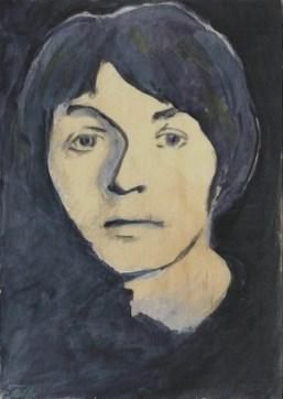 """2014 Paul McCartney, pencil and acrylic on wood 7""""x5"""""""