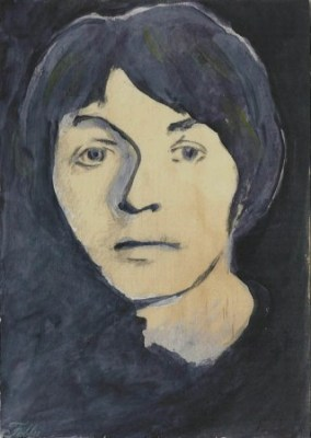 "2014 Paul McCartney, pencil and acrylic on wood 7""x5"""