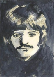"2014 Ringo Starr, pencil and acrylic on wood 7""x5"""