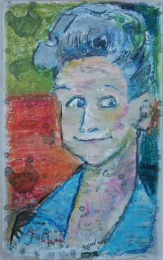 "2014 Ann B. Davis as Alice, Brady Bunch, oil and acrylic on paper 28""x17"""