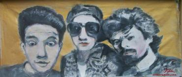 "2014 Beastie Boys, oil and acrylic on canvas 16""x40"""