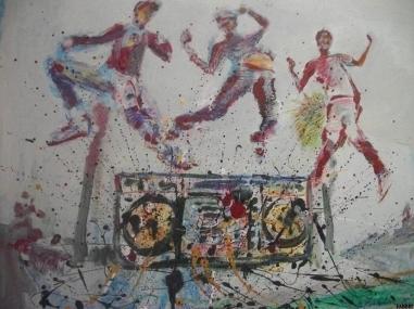 """2014 Beastie Boys, oil and acrylic on cardboard 24""""x24"""" •"""