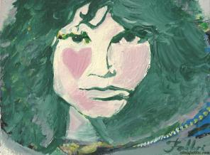 "2015 Jim Morrison, acrylic on cardboard 8""X11"""