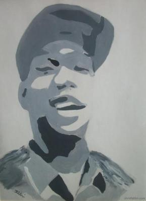 "2009 KRS-One, acrylic on paper 12""x9"""