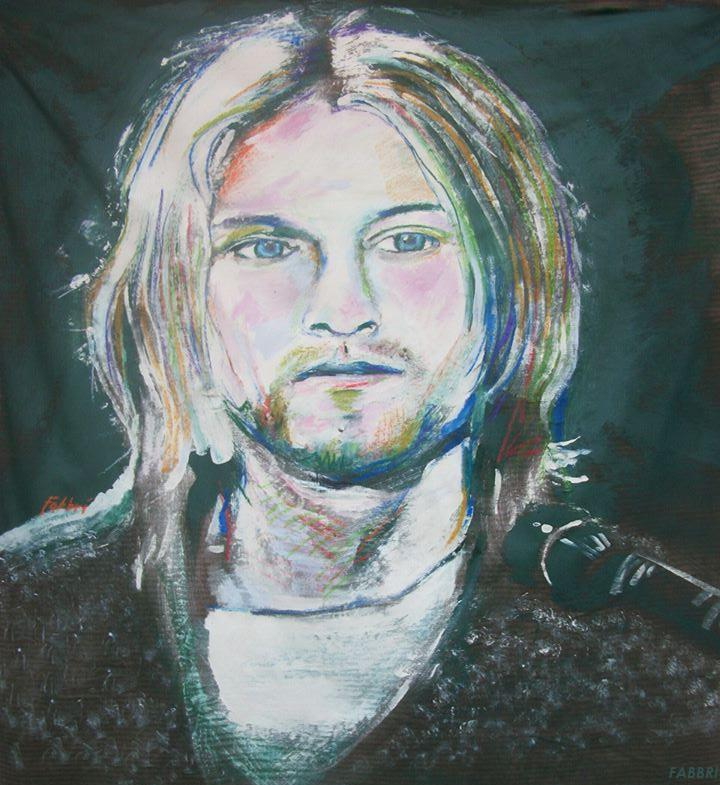 "2015 Kurt Cobain, oil and acrylic on linen 48""x48"""